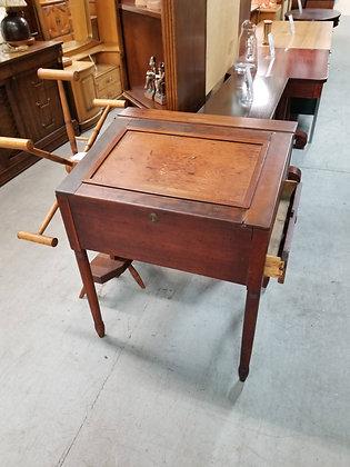 Antique Dark Wood Lift Top Desk w/ Side Drawer