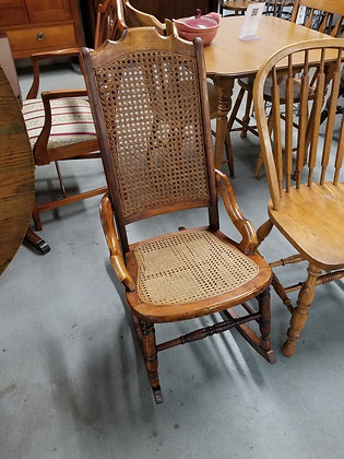 Cane Seat & Back Wood Rocking Chair Rocker