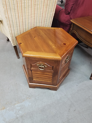 Two Door Hexagon Pine Wood End Table Side Table