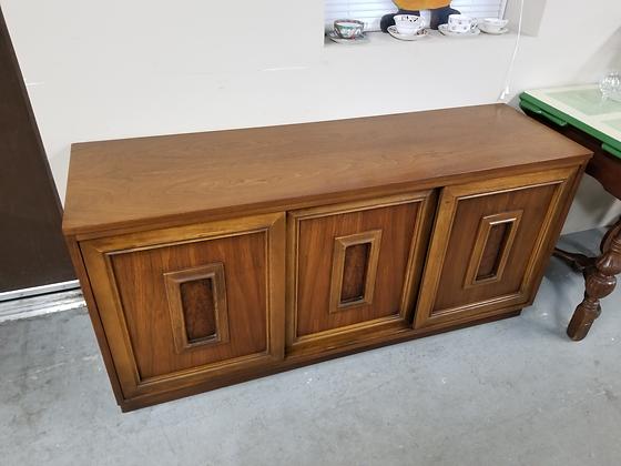 Medium Tone Wood Server Sideboard Buffet w/ Three Sliding Doors