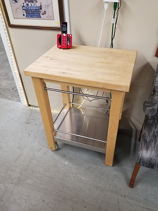 Blonde Wood Two Tier Cart / Stand / Island On Wheels