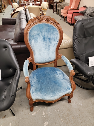 Blue Ornate Wood Accent Chair
