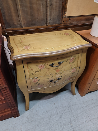 Two Drawer Floral Design Wood Chest / Stand