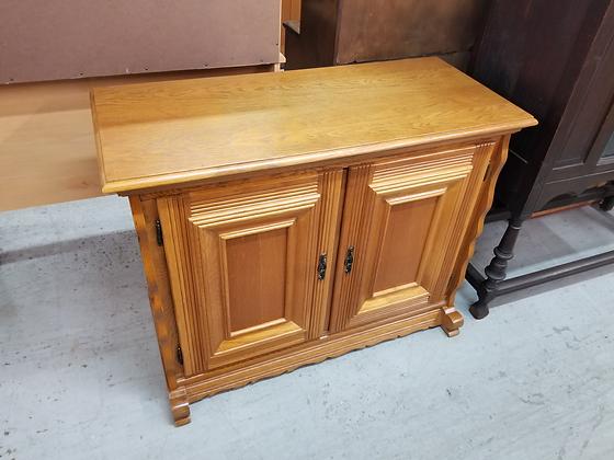Two Door Solid Oak Wood Cabinet Stand