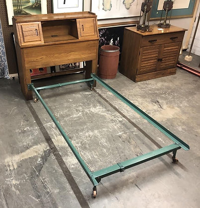 Twin Size Brandt Ranch Oak Cubby Headboard w/ Metal Frame (2 of 2)