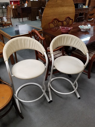 Matching Pair of Metal Frame Chairs / Stools w/ Rounded Backs