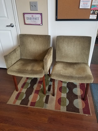 Pair of Green Upholstered Mid Century MCM Accent Chairs