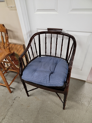 Dark Wood Spindle Back Accent Chair with Blue Seat Cushion