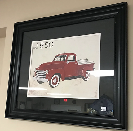 Red Classic Truck Wall Art w/ Black Frame #A27