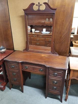Seven Drawer Ornate Dark Wood Vanity w/ Mirror