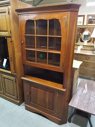 Beautiful Cherry Wood Glass Front Corner Cabinet w/ Two Doors