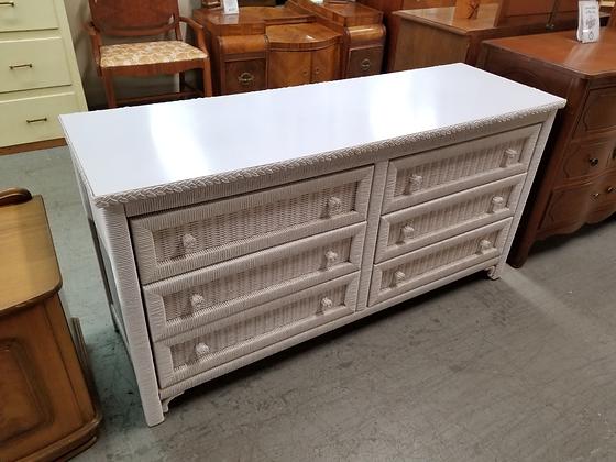 Six Drawer Wide White Wicker Wood Dresser by Henry Link