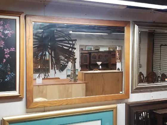 Rectangular Light Wood Framed Wall Mirror #M75