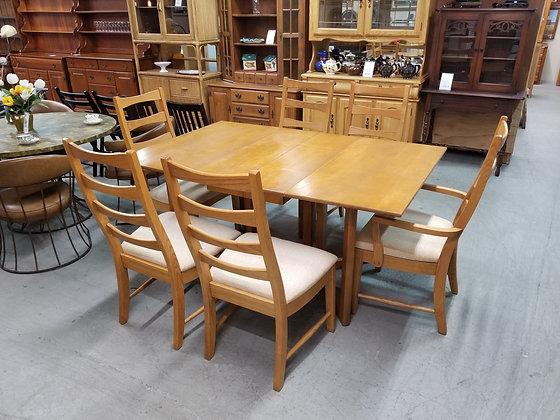 Conant Ball Drop Leaf Dining Table w/ Six Broyhill Ladderback Chairs