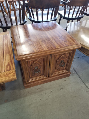 Two Door Wood End Table / Nightstand w/ Metal Door Handles