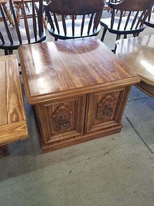 Two Door Wood End Table / Nightstand w/ Metal Door Handles