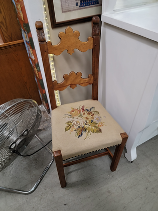 Medium Tone Wood Accent Chair with Floral Needlepoint Upholstered Seat