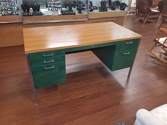 Large Green Six Drawer Metal Desk w/ Wood Grain Top