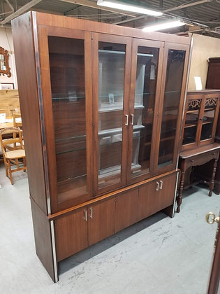 Large Mid Century MCM Glass Front Wood China Cabinet