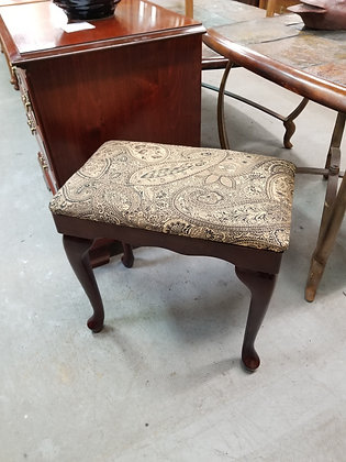 Queen Anne Dark Wood Piano Bench / Stool w/ Upholstered Seat