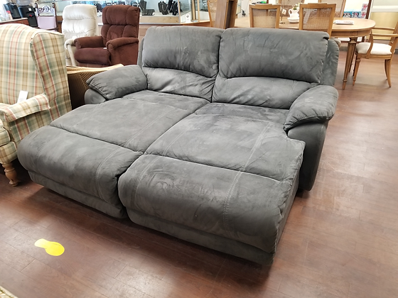 Large / Oversized Gray Upholstered Reclining Love Seat Sofa