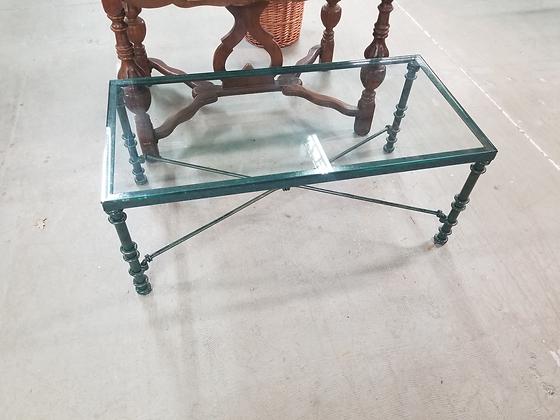 Rectangular Glass Top Coffee Table w/ Metal Frame