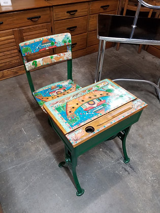 Colorful Painted Metal & Wood Children's School Desk w/ Matching Chair