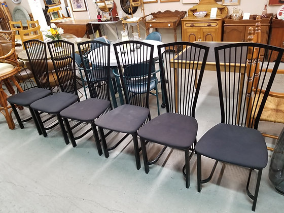 Set of Six Black Metal Spindle Back Style Dining Chairs w/ Cloth Seats