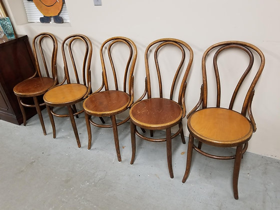 Set of Five Bentwood Style Dining Chairs w/ Round Seats