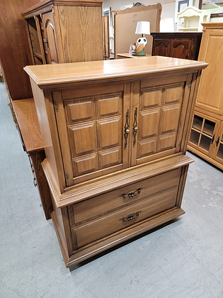 Two Door Five Drawer Tall Wood Dresser by Stanley