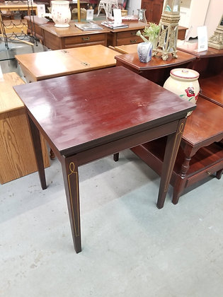Square Mahogany Wood End Table / Accent Table w/ Rotating Top