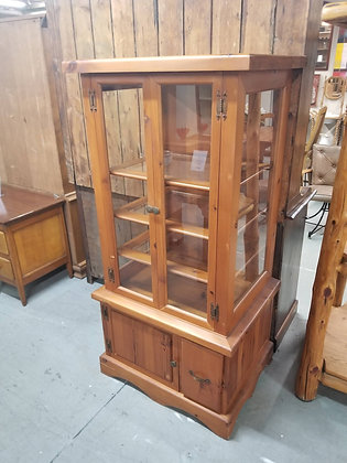 Two Door Country Pine Wood Glass Display Cabinet