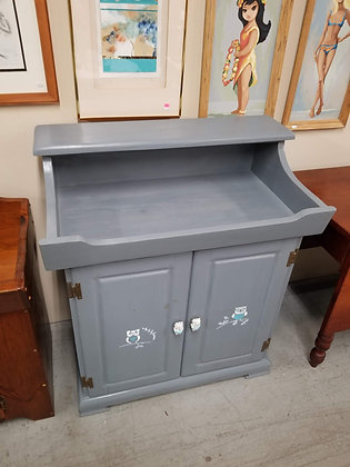 Blue Painted Washstand Commode w/ Two Doors & Painted Owl Designs