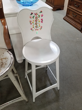 Small White Metal Stool with Floral Design Back