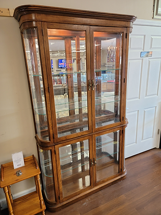 Glass Front Lighted Wood Display Cabinet with Four Doors