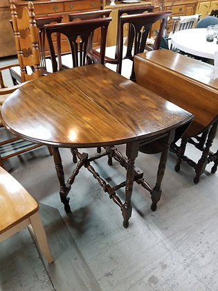 Drop Leaf Dark Wood Gate Leg Style Table with Single Drawer