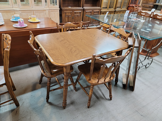 Solid Medium Tone Wood Dining Table with Four Chairs & Two Leaves