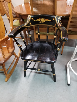 Two Tone Black & Gold Federal Style Spindle Back Wood Accent Chair
