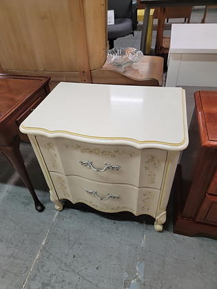 Two Drawer White French Provincial Wood End Table Nightstand