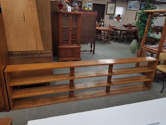 Long Three Tier Oak Wood Bookshelf Bookcase