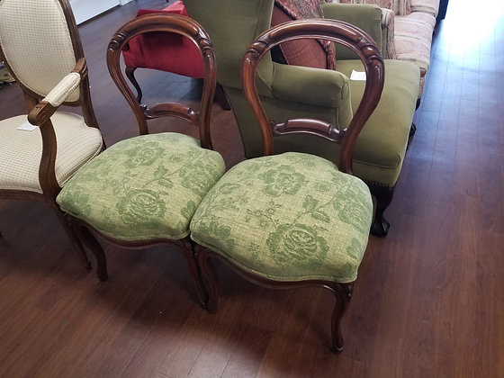 Pair Antique Dark Wood Balloon Back Accent Chairs w/ Upholstered Seats