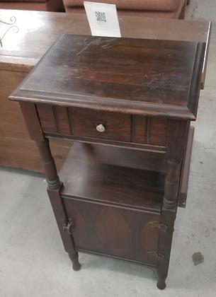 Single Drawer & Door Dark Wood Accent Table Stand