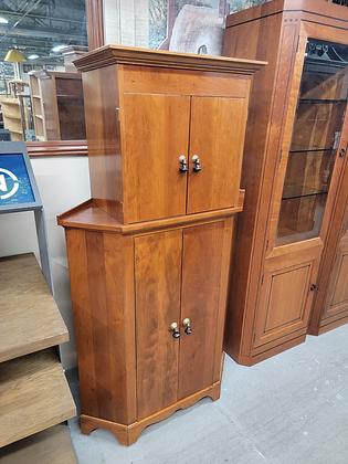 Two Tier Solid Wood Four Door Corner Cabinet w/ Interior Shelving
