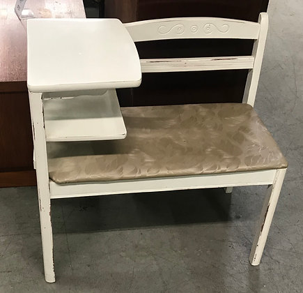 White Distressed Wood Telephone Table w/ Beige Upholstered Seat