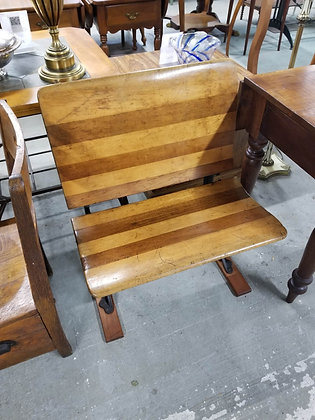 Antique Children's Lift Seat Wood School Bench / Chair