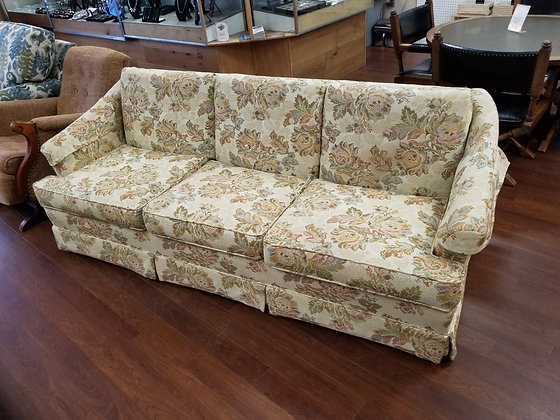 Three Seat Light Floral Upholstered Sofa Couch