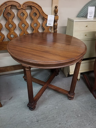 Round Wood Dining Table w/ Pillar Style Legs