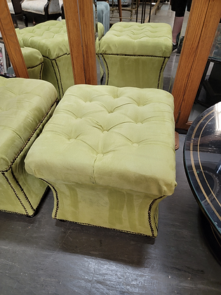 Green Tufted Top Studded Upholstered Stool / Ottoman (2 Of 2)