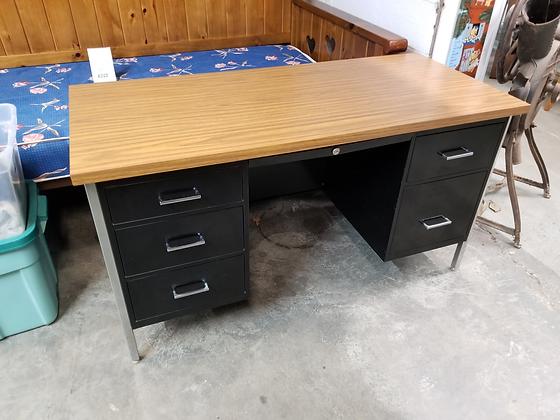 Six Drawer Multi Color Black & Silver Metal Desk W/ Wood Grain Top