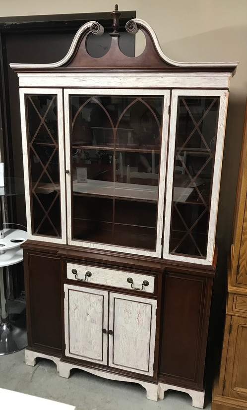 White Painted U0026 Distressed Wood China Cabinet Hutch